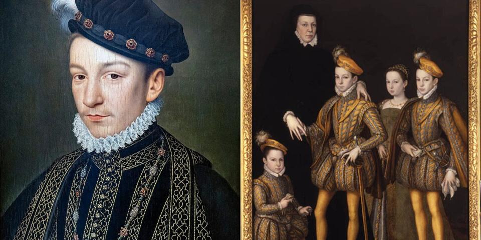 Екатерина Медичи с детьми и Карл IX